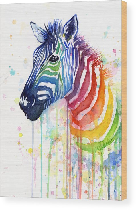 Rainbow Wood Print featuring the painting Rainbow Zebra - Ode to Fruit Stripes by Olga Shvartsur