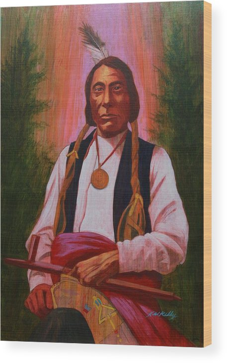 Red Cloud Wood Print featuring the painting Red Cloud Oglala Lakota Chief by J W Kelly