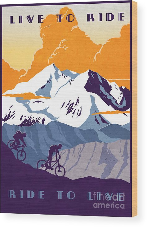 retro Cycling Poster Wood Print featuring the painting retro cycling poster Live to Ride Ride to Live by Sassan Filsoof