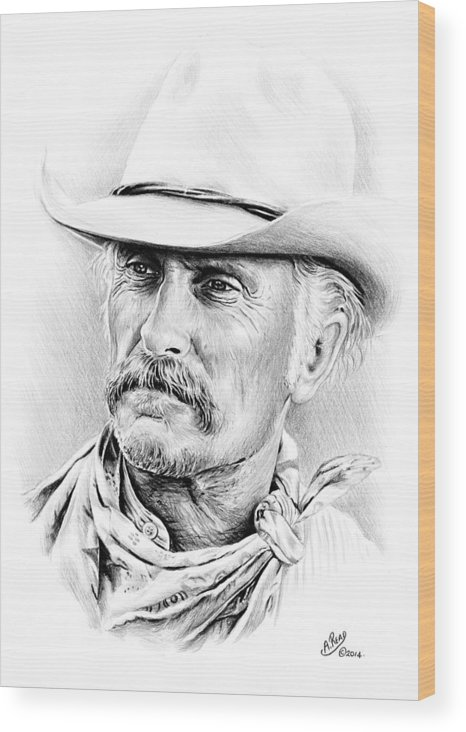 Robert Duvall Wood Print featuring the drawing Robert Duvall by Andrew Read