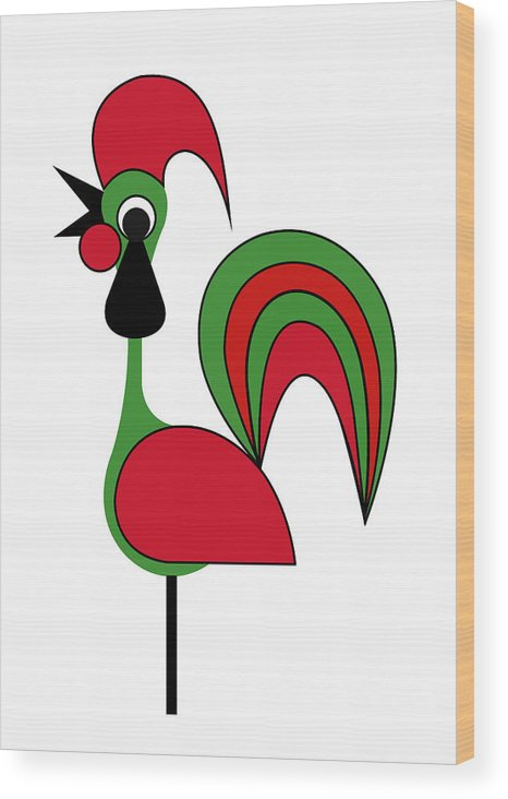 Rooster From Porto Wood Print featuring the digital art Rooster from Porto by Asbjorn Lonvig