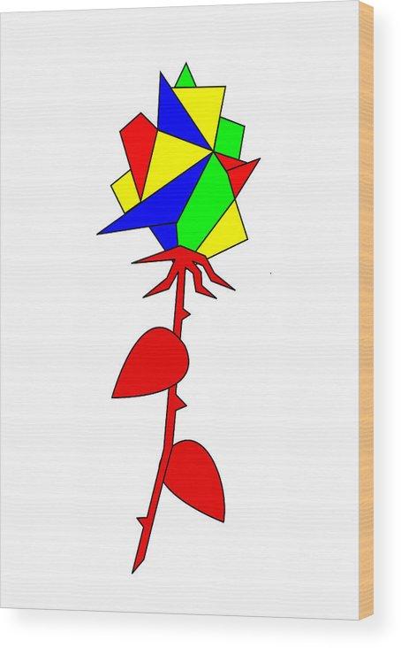 Rose Wood Print featuring the digital art Rose by Asbjorn Lonvig