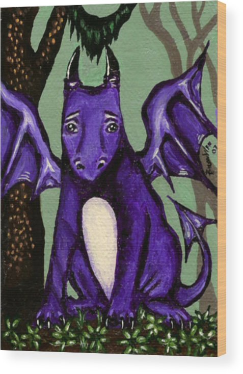 Dragon Wood Print featuring the painting Royal Amethyst Dragon Pup by Bronwen Skye