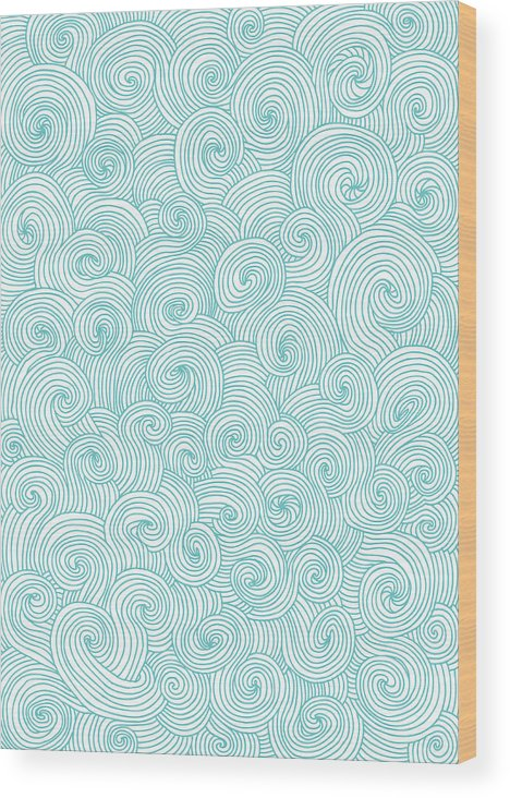 Curve Wood Print featuring the digital art Seamless Pattern Of Doodle Swirls And by Beastfromeast