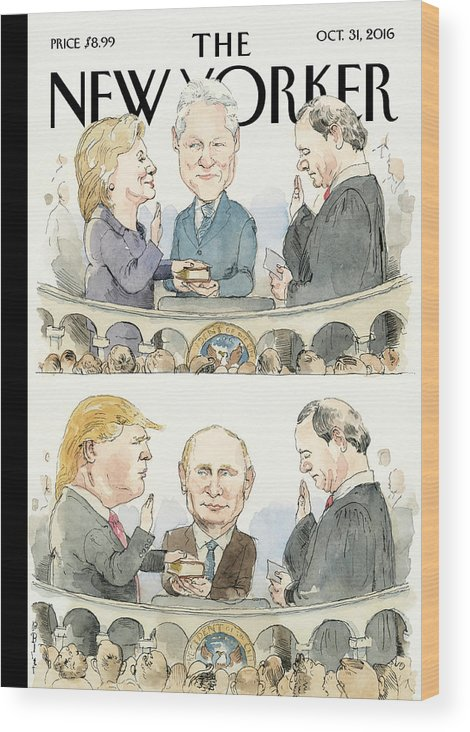 Election 2016 Wood Print featuring the painting Significant Others by Barry Blitt