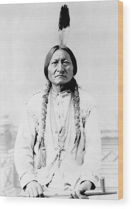 Native American Wood Print featuring the photograph Sioux Chief Sitting Bull by War Is Hell Store