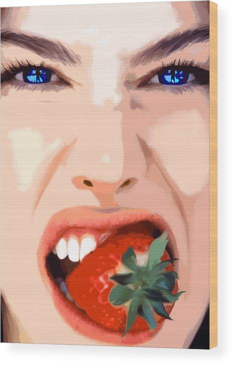 Pretty Girl Wood Print featuring the digital art Strawberry - Pretty Faces Series by Gabriel T Toro