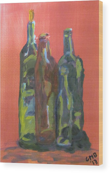 Print Wood Print featuring the painting Study of Bottles by Greg Mason Burns