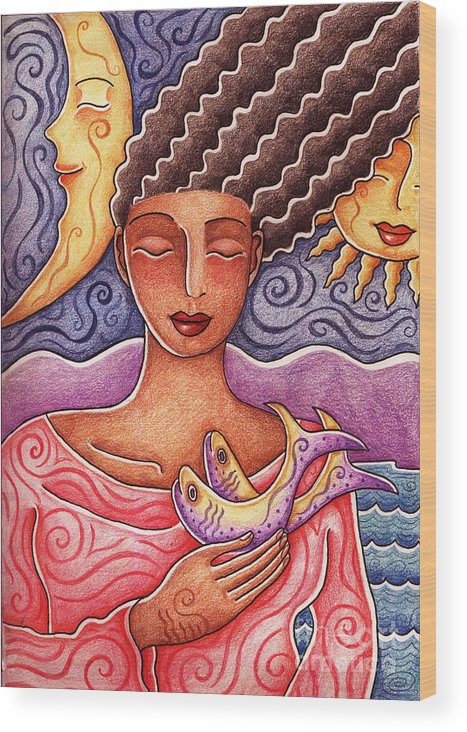 Woman Wood Print featuring the drawing Sun Fish Moon by Elaine Jackson
