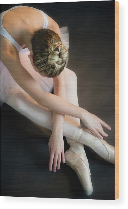 Ballet Dancer Wood Print featuring the photograph Teenage 16-17 Ballerina Bending Over by Jamie Grill