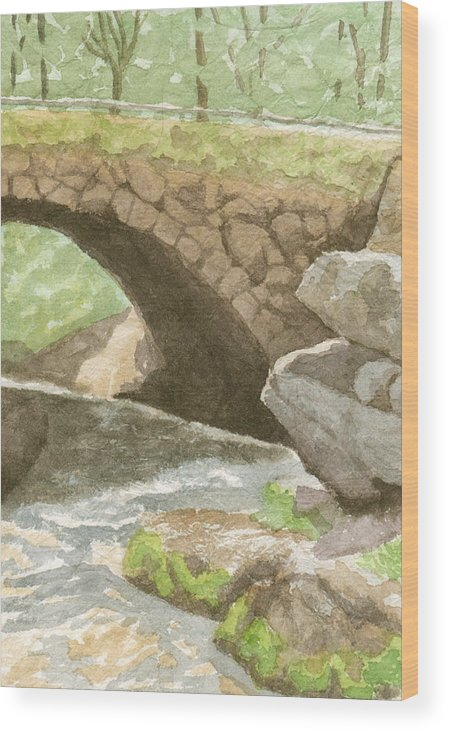 Water Wood Print featuring the painting The Bridge at Gleason Falls by Sharon E Allen