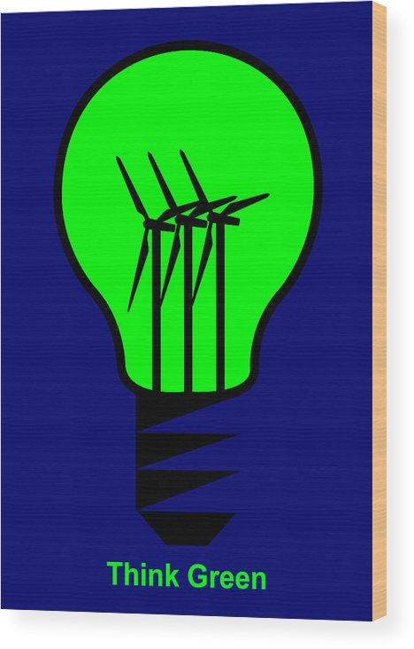 Think Green Wood Print featuring the digital art Think Green by Asbjorn Lonvig