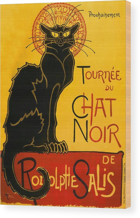 Art Nouveau Wood Print featuring the painting Tournee Du Chat Noir by Theophile Steinlen