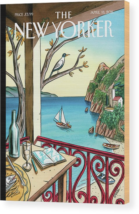 Balcony Wood Print featuring the painting Drawing While Waiting by Jacques de Loustal