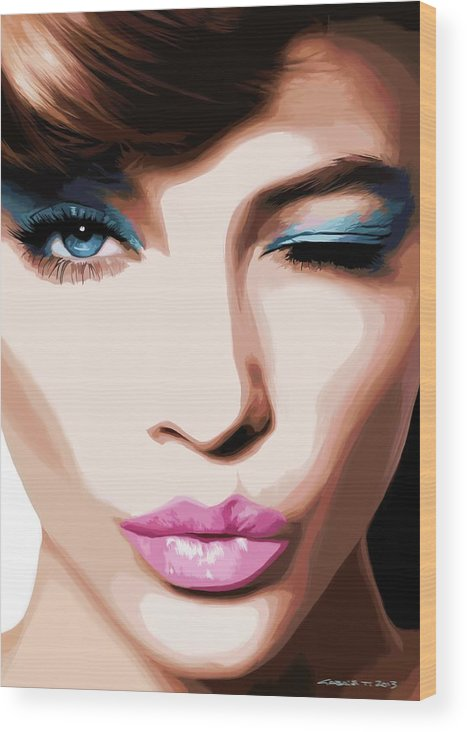 Amazing Girl Wood Print featuring the digital art Wink - Pretty Faces Series by Gabriel T Toro