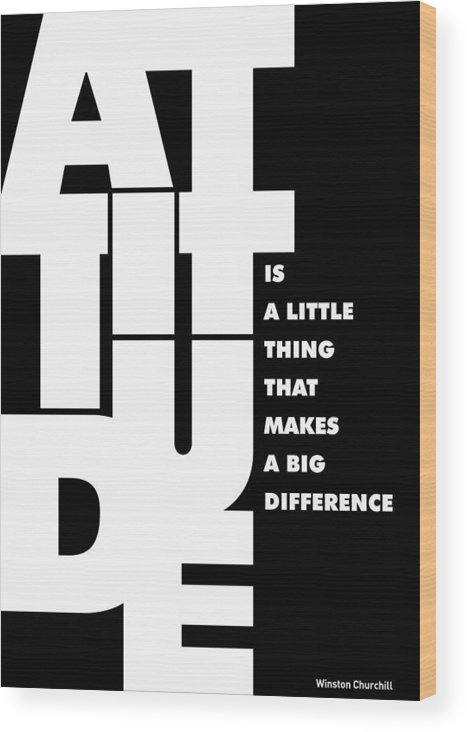 Motivational Art Wood Print featuring the digital art Winston Churchill Inspirational Typographic Quotes Poster by Lab No 4 - The Quotography Department