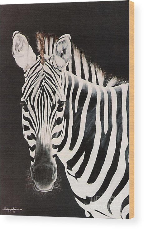 black And White Wood Print featuring the painting Zebra facing left by DiDi Higginbotham