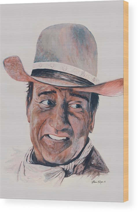 Portrait Wood Print featuring the painting John Wayne by Ben Kiger