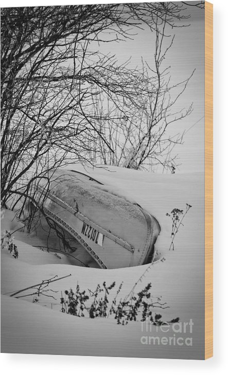 Canoe Wood Print featuring the photograph Canoe Hibernation by Ever-Curious Photography