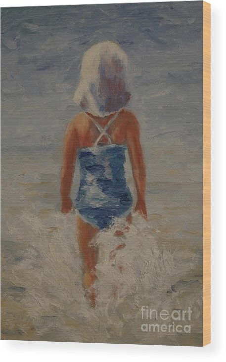 Child Wood Print featuring the painting Fearless by Colleen Murphy