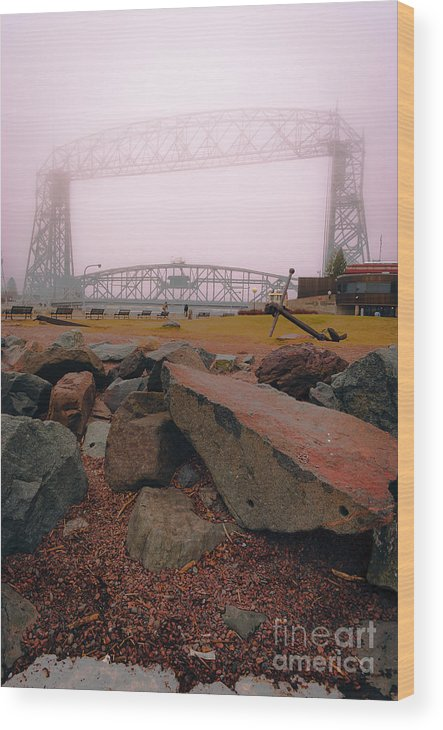 Lake Superior Wood Print featuring the photograph Lift Bridge in Spring Fog by Ever-Curious Photography