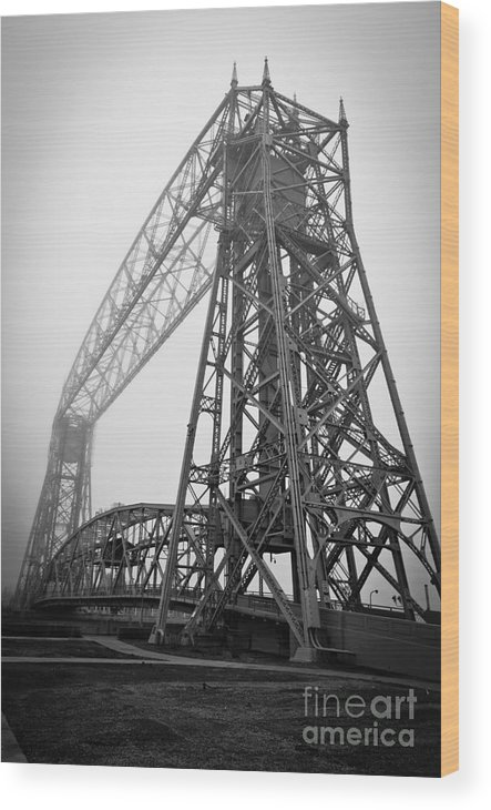 Lift Bridge Wood Print featuring the photograph Lift Bridge Standing Strong In Fog by Ever-Curious Photography