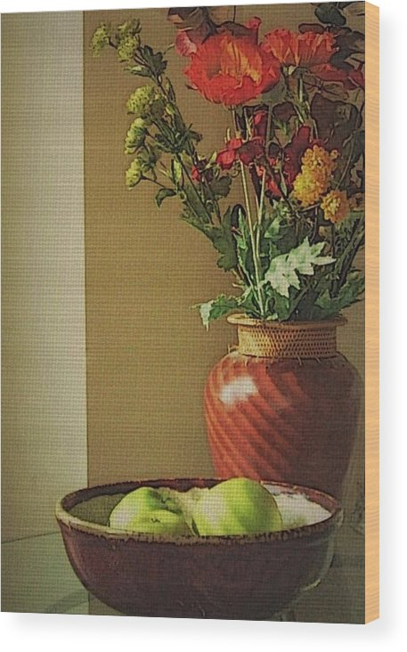 Still Life Wood Print featuring the photograph Poppies and apples still life by Joseph Ferguson