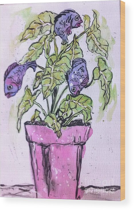 Fun Wood Print featuring the painting Potted Fish by Norma Gafford