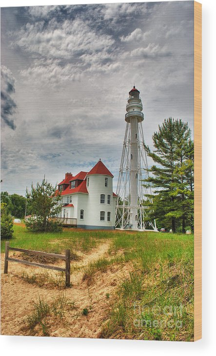 Rawley Point Wood Print featuring the photograph Rawley Point Lighthouse by Ever-Curious Photography
