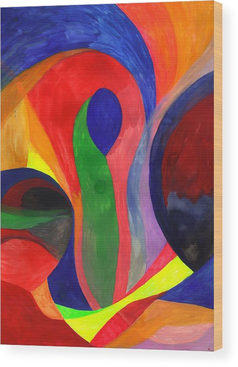 Colorful Wood Print featuring the painting Solitude in the Crowd by Peter Shor