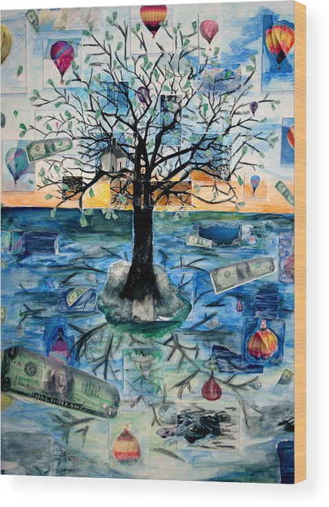 Hot Air Balloons Wood Print featuring the painting The Money Tree by Kate Fortin