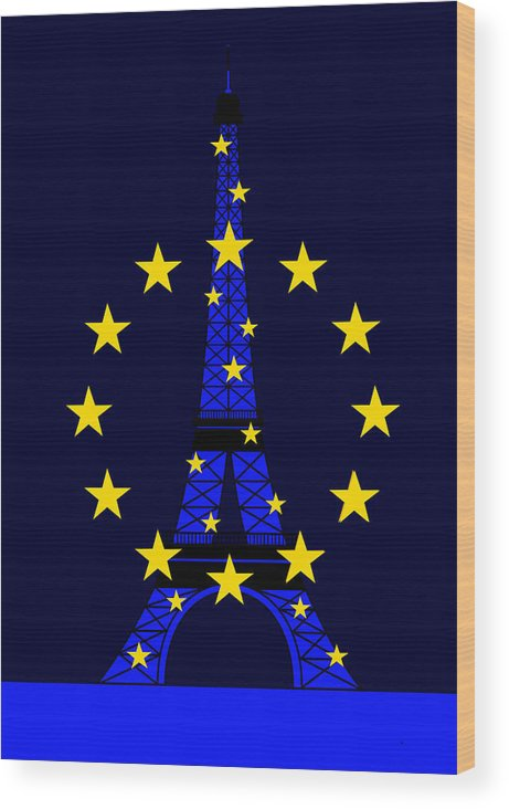 Tour Eiffel Wood Print featuring the digital art Inspired by the Eiffel Tower and the European Union by Asbjorn Lonvig