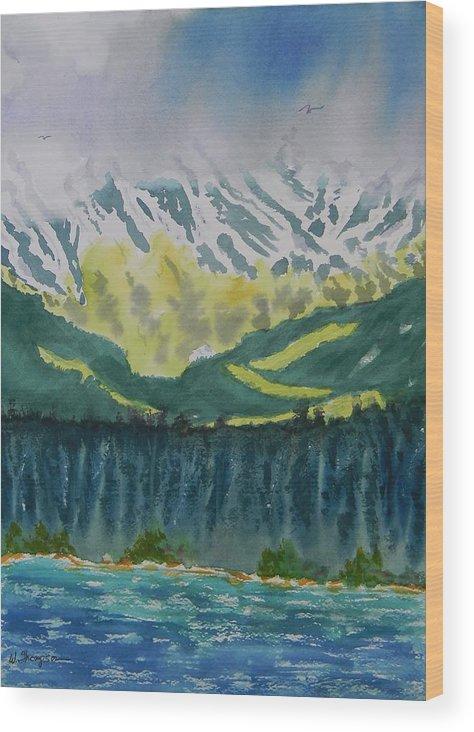 Juneau Landscape Wood Print featuring the painting Juneau Landscape by Warren Thompson