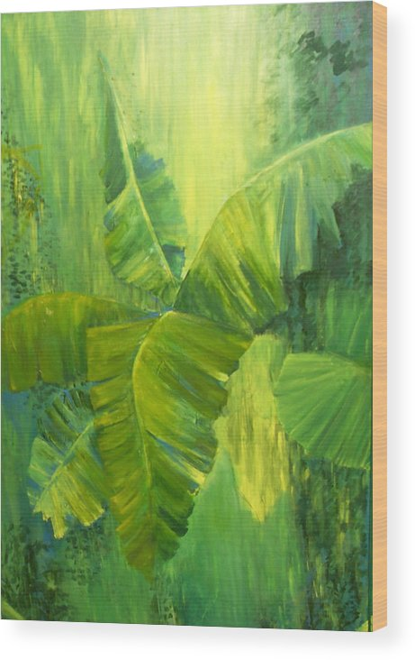Rain Forest Nature Wood Print featuring the painting Rain Forest by Carol P Kingsley
