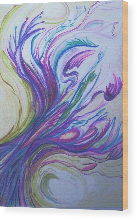 Abstract Wood Print featuring the painting Seaweedy by Suzanne Udell Levinger