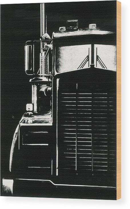 Vehicle Wood Print featuring the drawing Semi by Barbara Keith