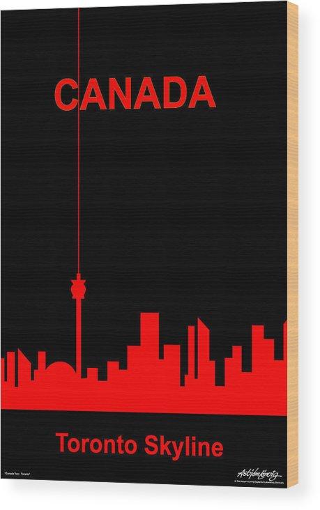Canada Wood Print featuring the digital art Toronto Skyline by Asbjorn Lonvig