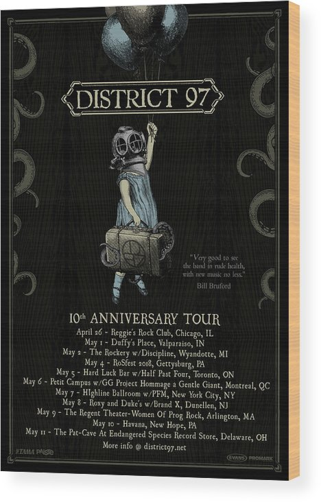 Wood Print featuring the digital art 10th Anniversary Tour by District 97