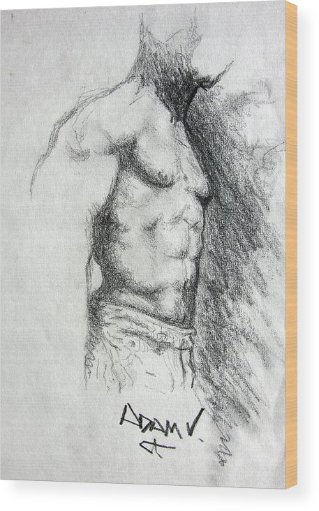 Men Wood Print featuring the drawing Untitled by Adam Vance