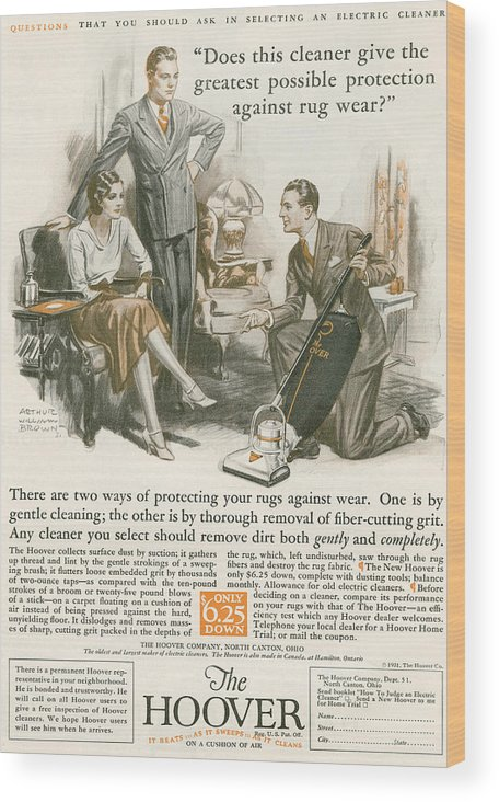 Welsh Wood Print featuring the drawing A 1930 S Advertisement For The Hoover by Vintage Design Pics