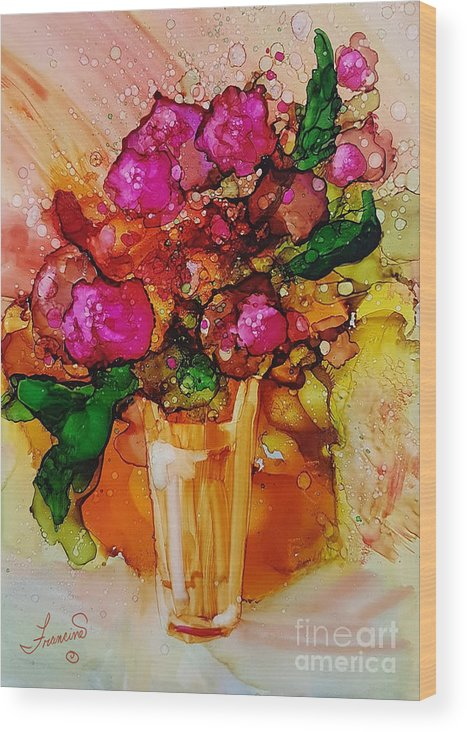 Bright Wood Print featuring the mixed media Aaaah Spring by Francine Dufour Jones