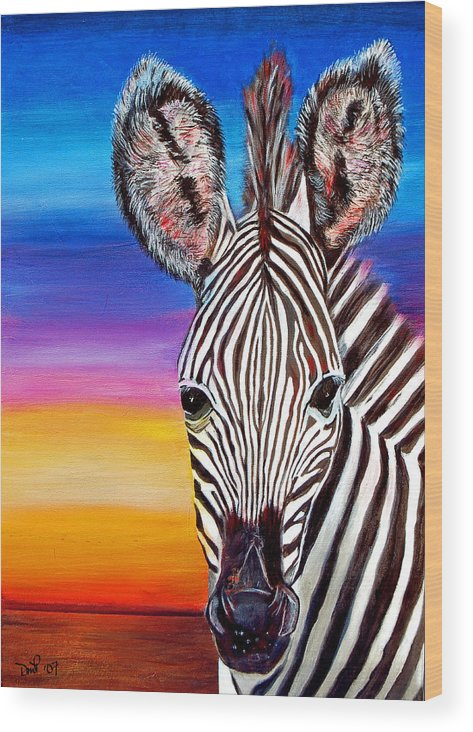 Zebra Wood Print featuring the painting African Zebra Aura by Donna Proctor
