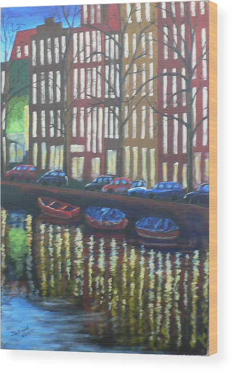 Canal Wood Print featuring the painting Amsterdam Evening by Dan Bozich