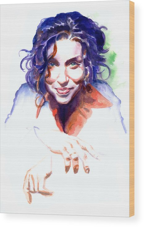 Ani Difranco Wood Print featuring the painting Ani DiFranco by Ken Meyer jr