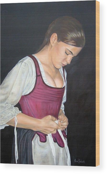 Portrait Wood Print featuring the painting Another Day by Anne Kushnick