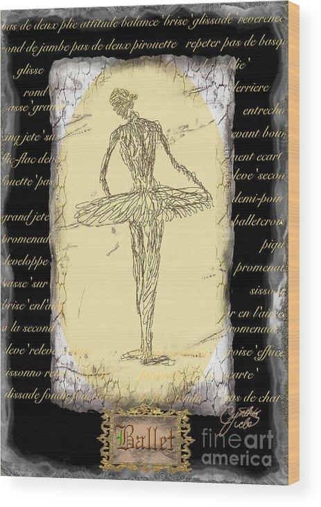 Ballet Wood Print featuring the digital art Antique Ballet by Cynthia Sorensen