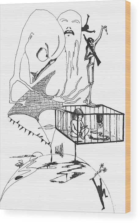 Drawing Pen Automatism Wood Print featuring the drawing Automatism by Veronica Jackson