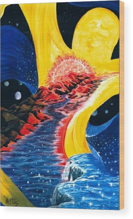 Woman Floating In Space Wood Print featuring the painting Beauty Within by Pam Ellis