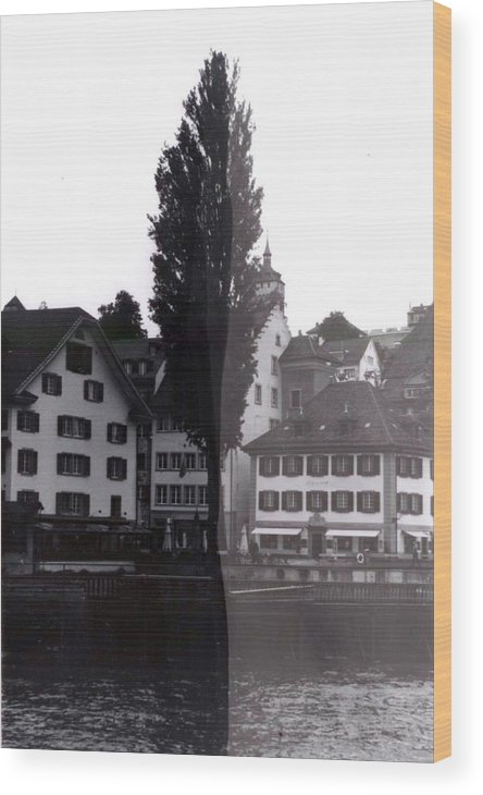 Black And White Wood Print featuring the photograph Black Lucerne by Christian Eberli