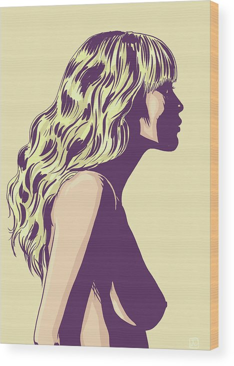 Blonde Wood Print featuring the drawing Blonde by Giuseppe Cristiano